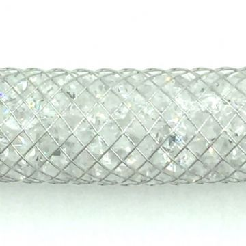 6mm Platinum plated stardust mesh with 2mm crystals - 1 Metre length